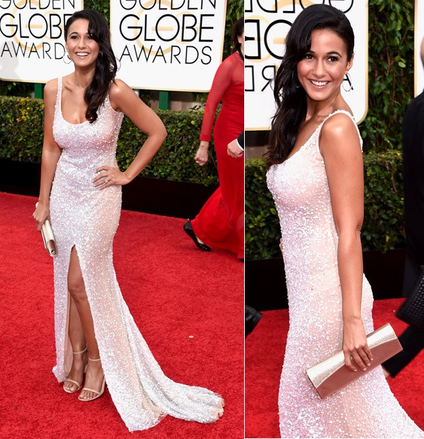 Emmanuelle Chriqui no Globo de Ouro 2015 (Foto: Getty Images)
