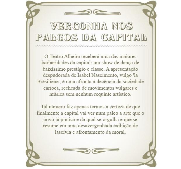 O Bonde: 'La Brésiliene' vai afrontar sociedade carioca no palco (Foto: Lado a Lado / TV Globo)