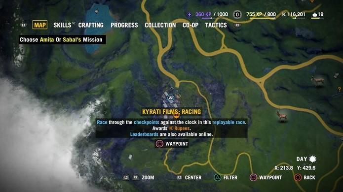 Procure a missão e coloque-a como destino no mapa (Foto: Reprodução/Thiago Barros)