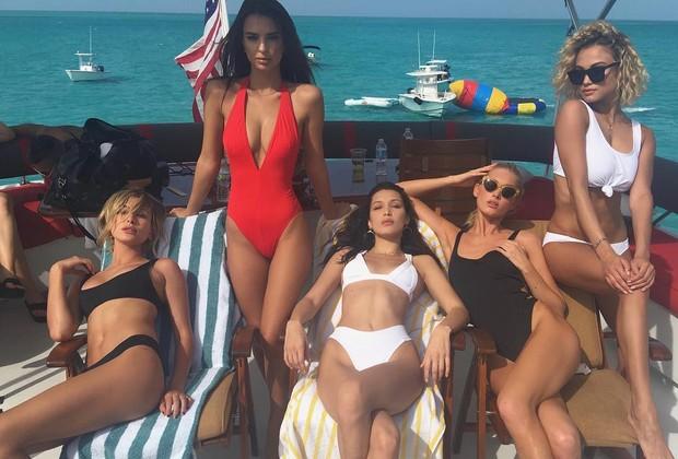 Hailey Baldwin, Emily Ratajkowski , Bella Hadid, Elsa Hosk e Rose Bertram (Foto: Reprodução/Instagram)
