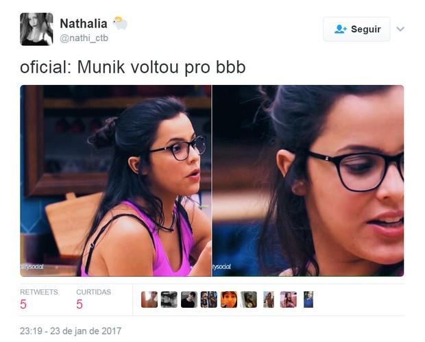Gêmea Emilly é comparada a Munik, do BBB 16 (Foto: Reprodução/Twitter)