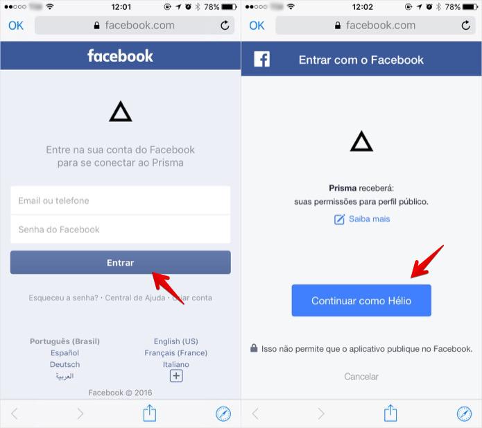 Dando permissão ao app Prisma para acessar o seu Facebook (Foto: Reprodução/Helito Bijora)