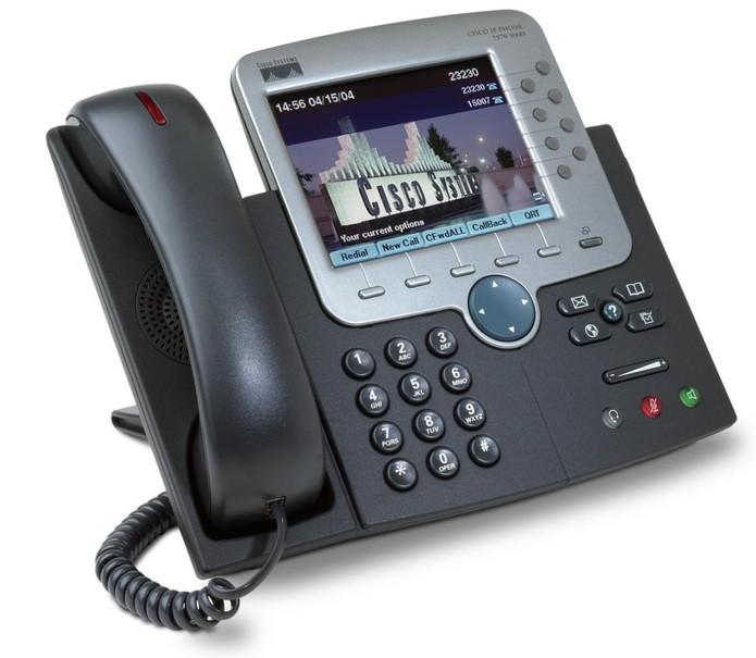 Os telefones IP se parecem com os convencionais, mas utilizam os conectores RJ-45 (Foto: Divulgação/Cisco)