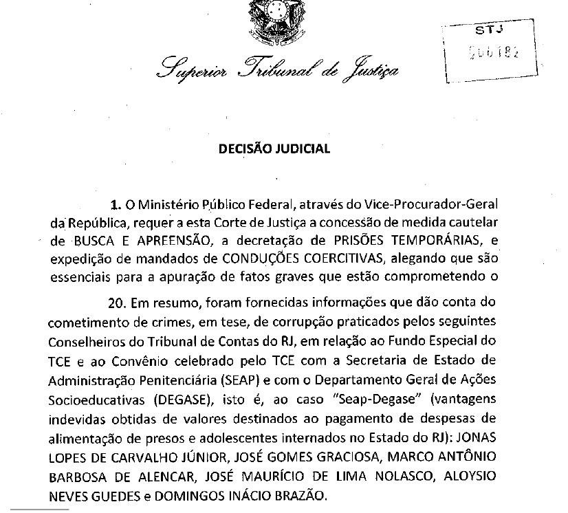Despacho do ministro do STJ Félix Fischer na Operação Quinto do Ouro (Foto: Reprodução)