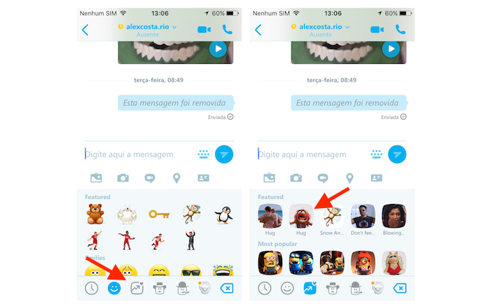Visualizando os mojis do Skype para iPhone (Foto: Reprodução/Marvin Costa)