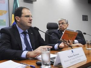 Nelson Barbosa fala sobre o plano de concessões no Senado nesta quarta-feira (10) (Foto: Pedro França/Agência Senado)