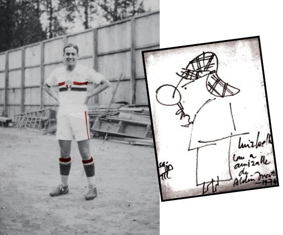 BOÊMIO ATLETA Lopes Coelho no tempo de jogador do São Paulo, na década de 1930. Abaixo, charge do Doutor Leite feita pelo artista Aldemir Martins (Foto: Acervo pessoal/Reprodução)