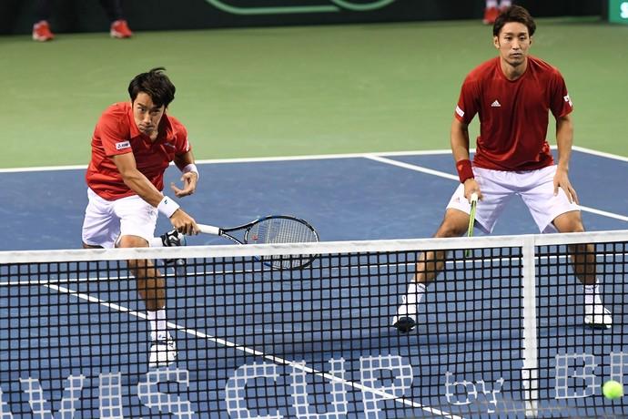 Japão Copa Davis Yuichi Sugita e Yasutaka Uchiyama  (Foto: Atsushi Tomura/Getty Images)