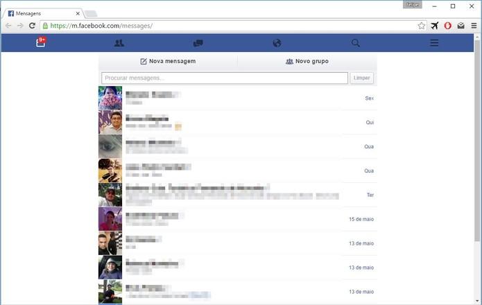 Acessando o Facebook Messenger na interface mobile (Foto: Felipe Alencar/TechTudo) (Foto: Acessando o Facebook Messenger na interface mobile (Foto: Felipe Alencar/TechTudo))