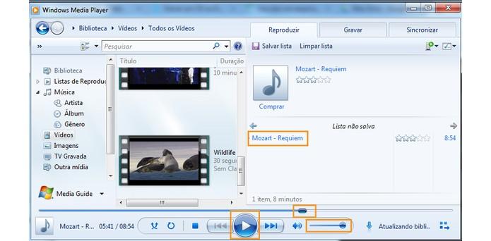Ações para a execução de música ou vídeo no Media Player (Foto: Reprodução/Barbara Mannara)