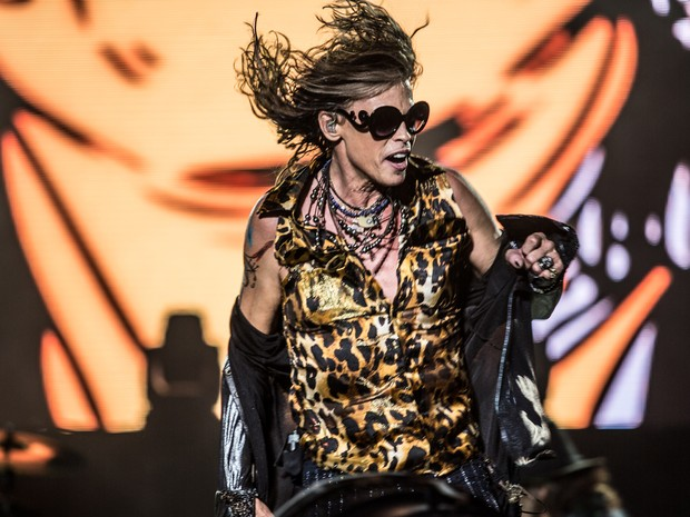 Steven Tyler, vocalista do Aerosmith, se apresenta no 2º dia do festival Monsters of Rock. (Foto: Raul Zito/G1)