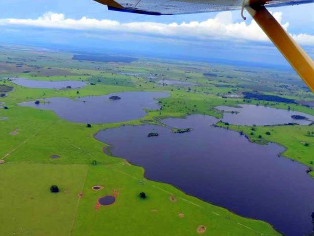 Região alagada em Taquarussu, MS (Foto: Divulgação/ Secretaria de Meio Ambiente de Taquarussu)