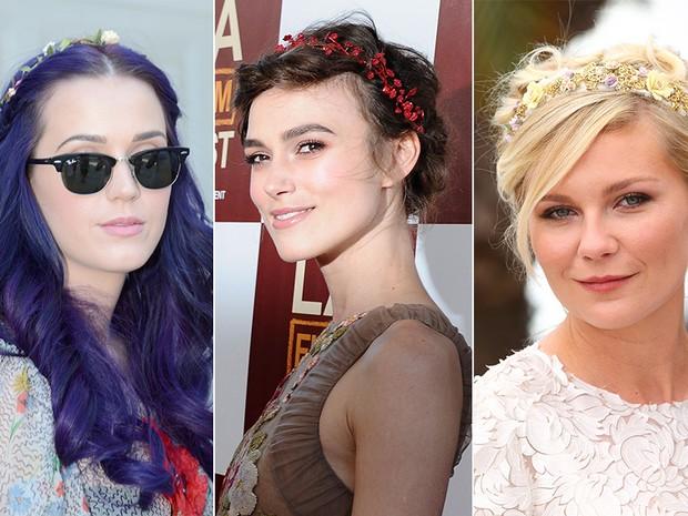 Tiara de flores - Katy Perry, Keira Knightley e Kirsten Dunst (Foto: Instagram / Reprodução)