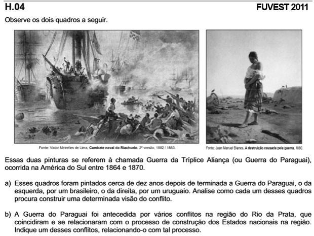 Guerra do Paraguai caiu na segunda fase da Fuvest 2011 (Foto: Reprodução/Fuvest)