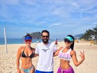 Laura Keller e 'Índia Fitness' exibem corpos esculturais em treino na praia