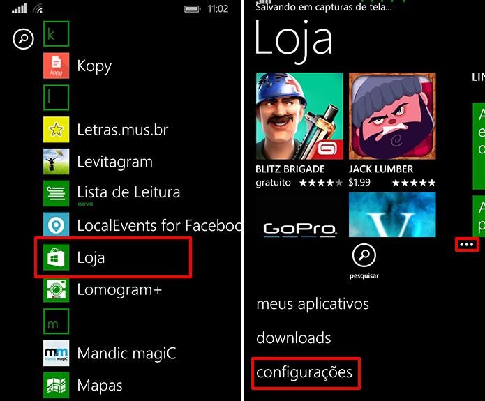 Loja de aplicativos do Windows Phone pode procurar atualizações nas configurações (Foto: Reprodução/Elson de Souza)