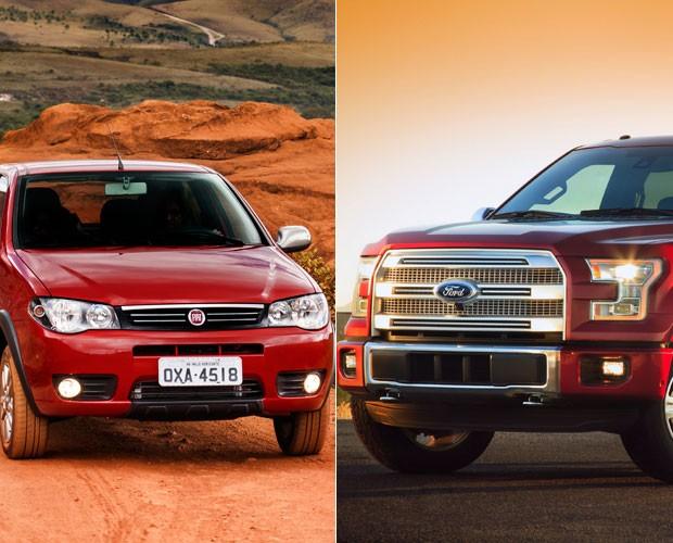 Mais vendidos Brasil x EUA - Palio e Ford F-series (Foto: Divulgação)