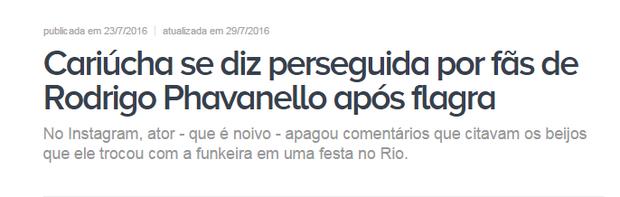 Cariúcha se declara perseguida (Foto: Reprodução)