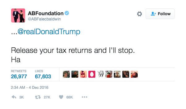 A resposta dada por Alec Baldwin ao empresário Donald Trump (Foto: Twitter)