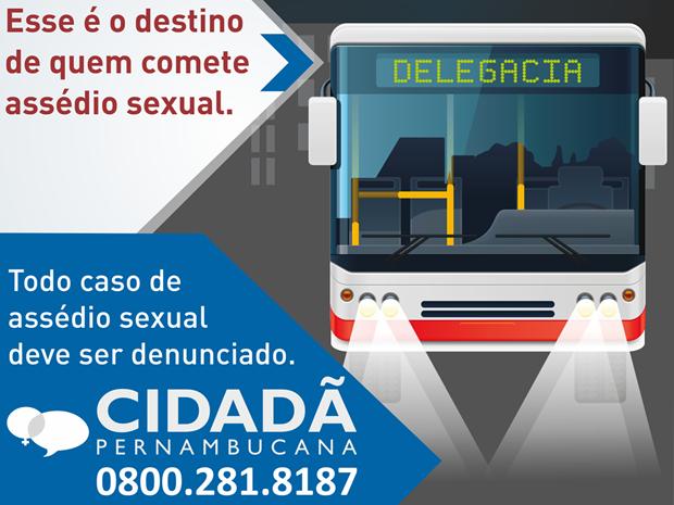 Comitê fixa cartazes para mapear assédio sexual em ônibus no Recife (Foto: Grande Recife Consórcio/Divulgação)