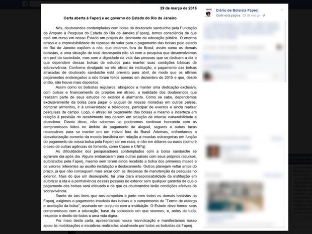 Carta divulgada por doutorandos e pós-doutorandos que desenvolvem pesquisas no exterior com bolsas da Faperj (Foto: Reprodução/ Facebook)
