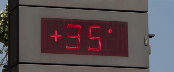 Termômetro marcando 35 graus (Foto: Reprodução/Stock.xchng)