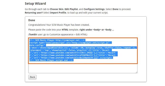 Copie todo o código gerado pelo SCM Music Player (Foto: Reprodução/Barbara Mannara) (Foto: Copie todo o código gerado pelo SCM Music Player (Foto: Reprodução/Barbara Mannara))
