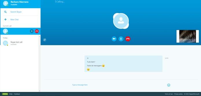 Skype web permite fazer chamada de vídeo e áudio, além de mandar mensagens (Foto: Reprodução/Barbara Mannara)