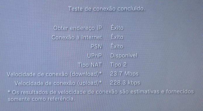 Após configurar a rede, teste a sua conexão (Foto:Reprodução/Cássio Barbosa)
