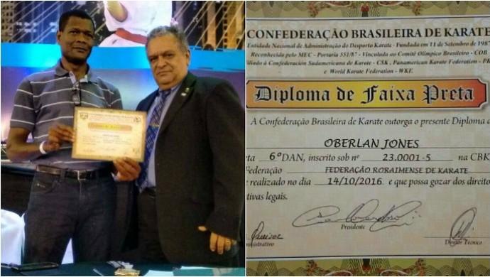 Mestre Oberlan Jones graduação 6º grau Faixa Preta Karatê (Foto: Divulgação/FRK)