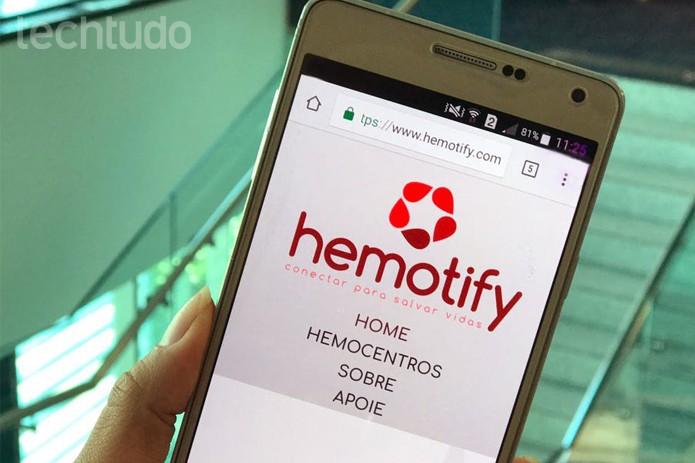 Hemotify aplicativo de doação de sangue (Foto: Carolina Ochsendorf/TechTudo)