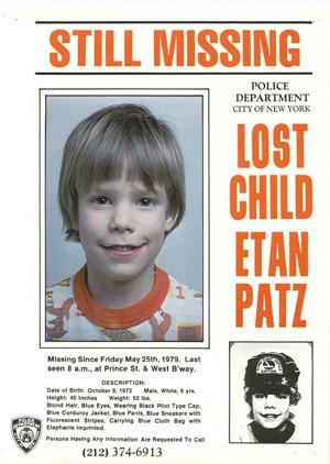 Cartaz de desaparecido do garoto Etan Patz (Foto: AP)