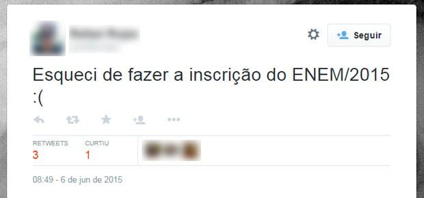 Candidato desabafou no Twitter depois de perceber que não ia poder fazer o Enem 2015 (Foto: Reprodução/Twitter)