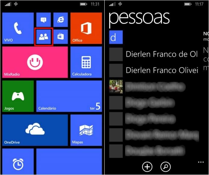 Abra a agenda do Windows Phone (Foto: Reprodução/Helito Bijora)