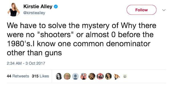 A atriz Kristie Alley culpou o uso de remédios de tratamento pisquiátricos para os massacres constantes ocorridos nos EUA (Foto: Twitter)