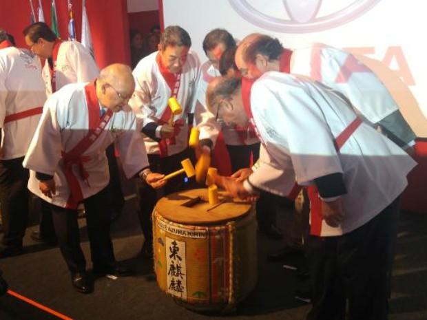 Inauguração de fábrica da Toyota em Porto Feliz reuniu autoridades (Foto: Jomar Bellini / G1)