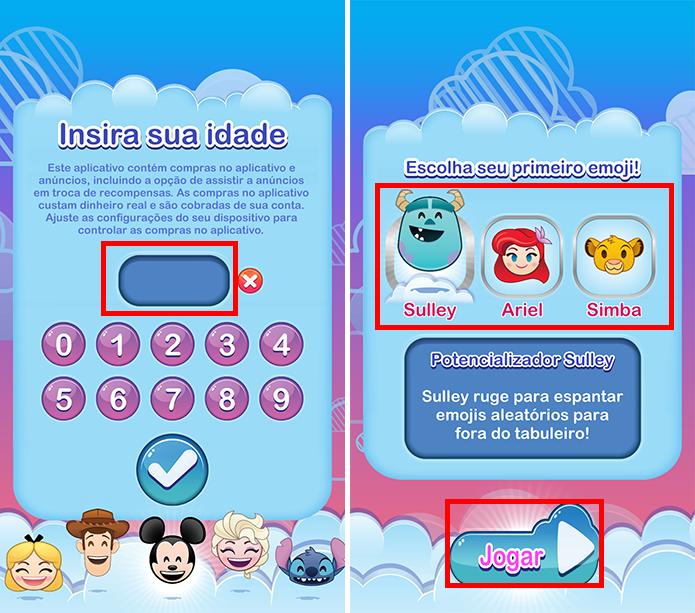 Informe sua idade e escolha o primeiro emoji (Foto: Reprodução/Paulo Alves)