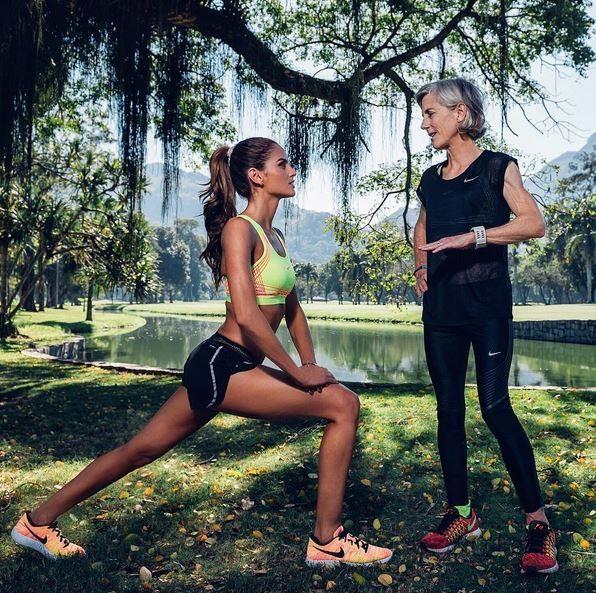 Izabel Goulart participa de treino com a ex atleta Joan Benoit (Foto: Instagram/Reprodução)