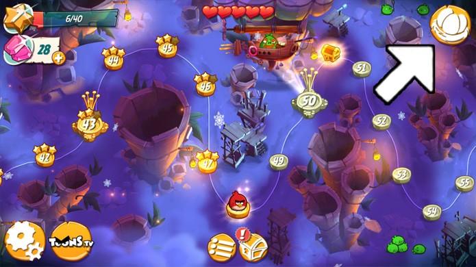 Clique no ícone dos ovos no canto superior direito para ir ao ninho de Angry Birds 2 (Foto: Reprodução/Rafael Monteiro)
