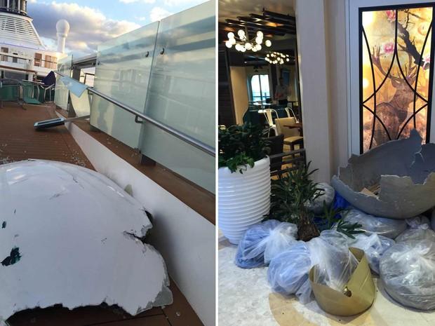 Danos causados em navio de cruzeiro durante tempestade na costa dos Estados Unidos (Foto: Flávio Cadegiani/Arquivo Pessoal)