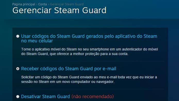 Marque a caixa para ativar o Steam Guard por email (Foto: Reprodução/Tais Carvalho)