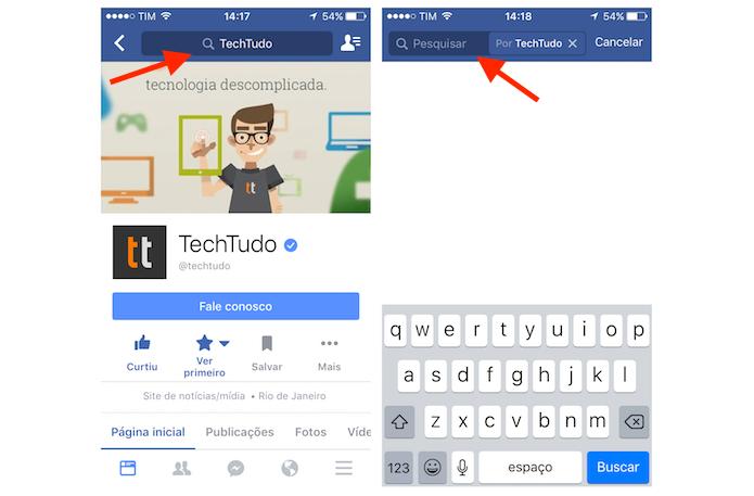 Acessando a ferramenta de pesquisa de publicações em uma página do Facebook no iPhone (Foto: Reprodução/Marvin Costa)