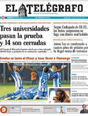 """Jornal """"El Telegrafo"""" tira sarro do Fla (Foto: Reprodução)"""