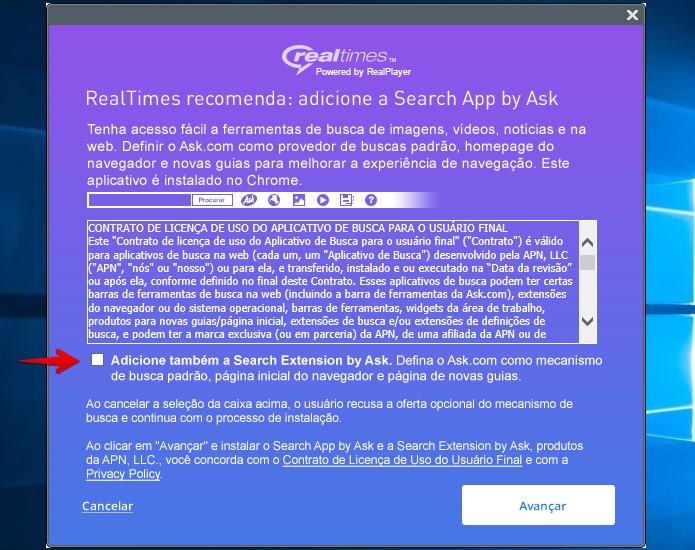 Desmarque a opção para não instalar a barra de ferramentas (Foto: Reprodução/Helito Bijora)