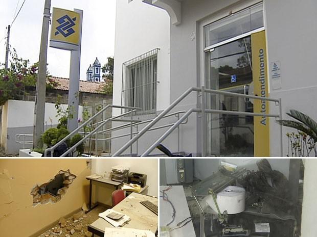 Agência do Banco Brasil, no centro de Paraibuna. No detalhe, buraco aberto na parede e destruição dos equipamentos do local.  (Foto: Reprodução/TV Vanguarda)