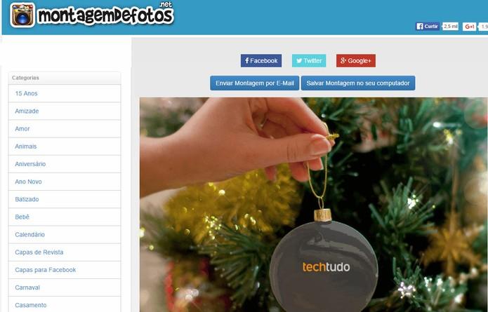 Site para montagem de fotos natalinas permite recortar fotos (Foto: Reprodução/Barbara Mannara)