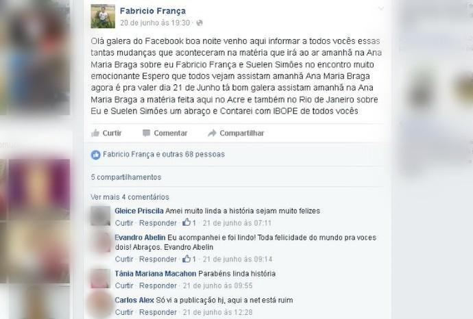 Após reportagem, acreano recebeu mensagens de carinho e felicitações nas redes sociais (Foto: Reprodução/redes sociais)