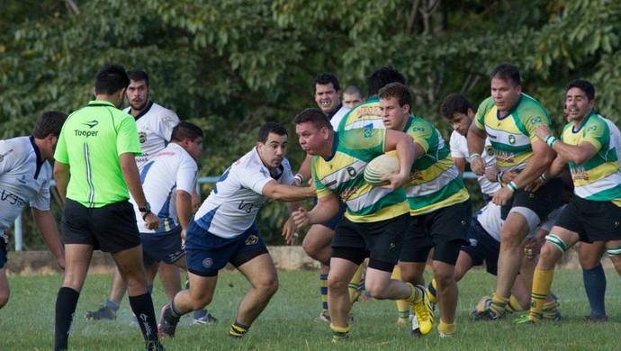 Goianos saiu na frente na decisão do Pequi Nations (Foto: Michel Leplus/Cuiabá Rugby)