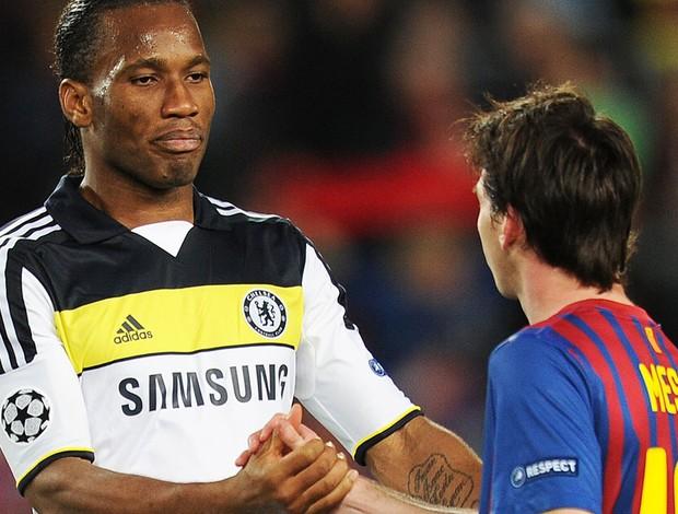 Drogba e Messi - Barcelona X Chelsea (Foto: Ag. AFP)