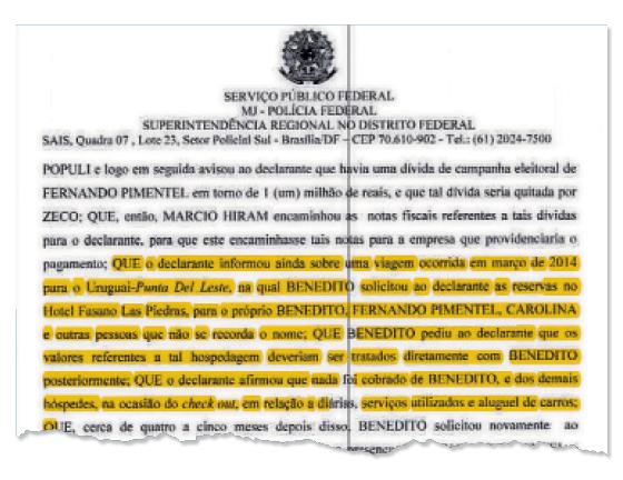 Documento do depoimento à Polícia Federal envolve Pimentel com acusações de lobby e caixa dois (Foto: Reprodução )